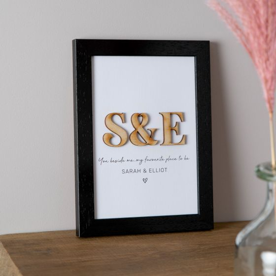 Wooden Initials Framed Couple's Print