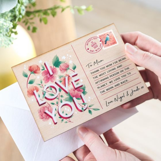 Printed Wooden 'I Love You' Postcard