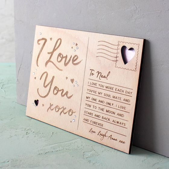 Engraved Wooden 'I Love You' Postcard