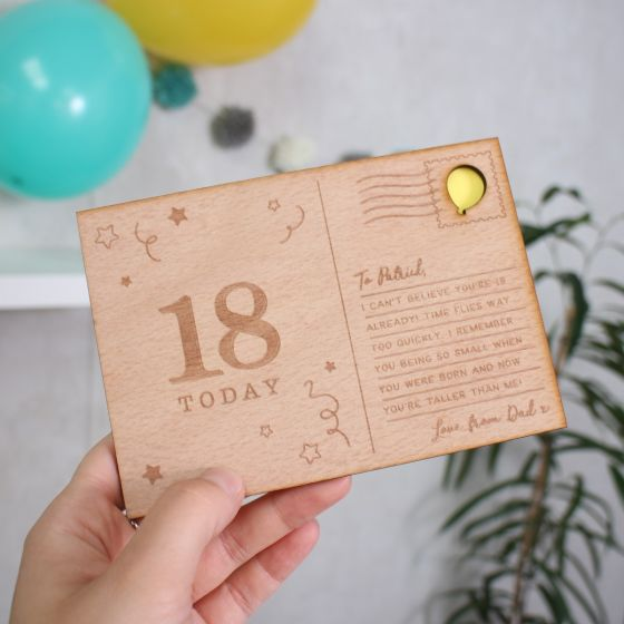 Personalised 'Big Birthday' Wooden Postcard