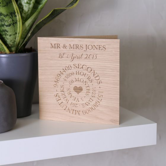 Wooden (5th) Anniversary Time Card