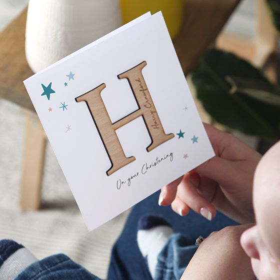 Large Initial Christening Card