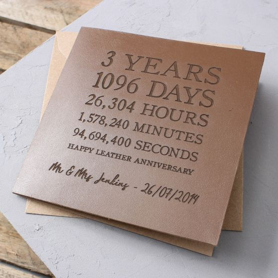Leather Time Card- Square (3rd Anniversary)