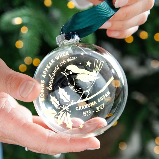 Robins Appear... Foiled Memorial Bauble
