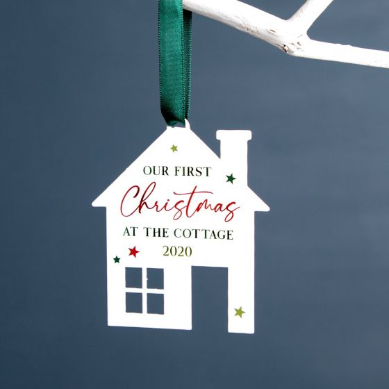 Personalised House White Christmas Decoration