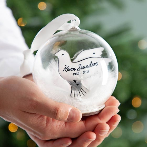 Metallic Dove Memorial Bauble with Feathers