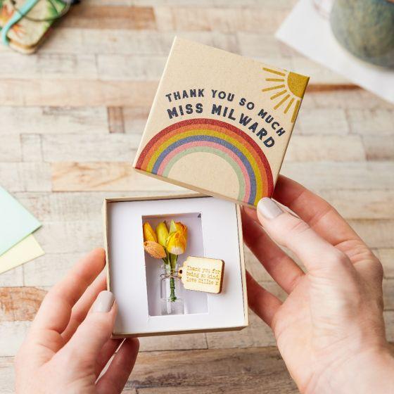 Thank You Teacher Flower Box - Rainbow Lid Design