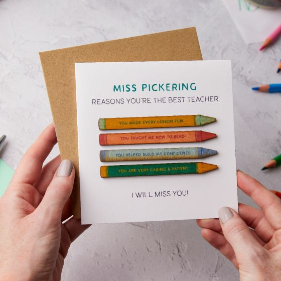 Thank You Teacher Wooden Crayons Keepsake Card