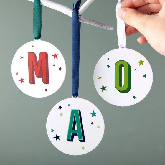 Colourful Monogram Hanging Christmas Decoration