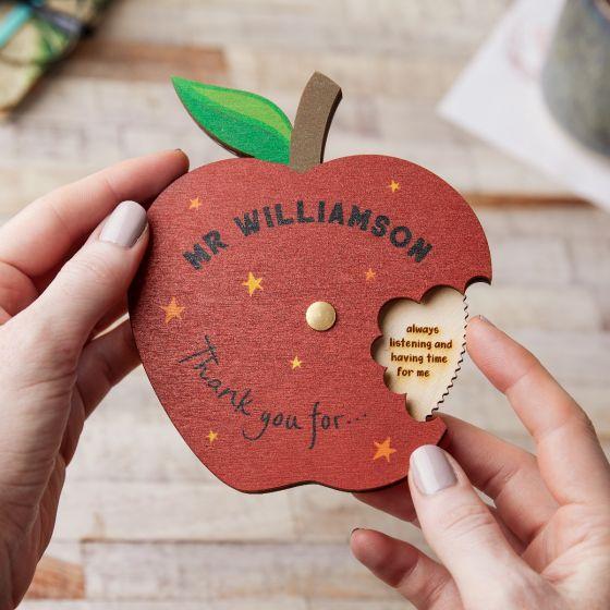 Wooden Apple Thank You Teacher Keepsake