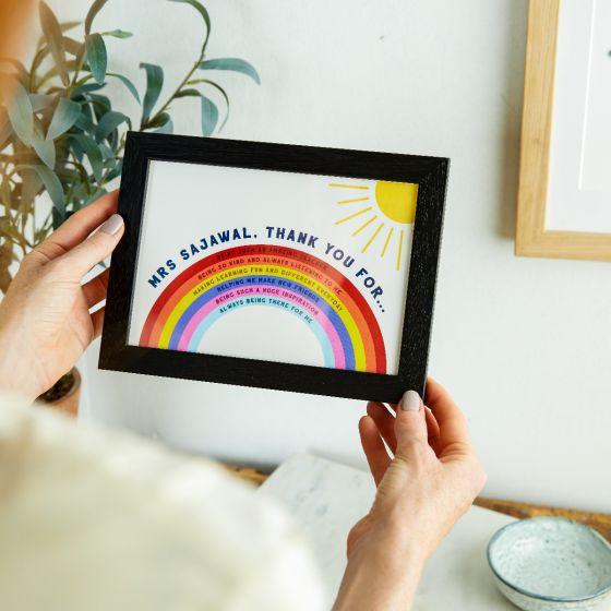 Thank You Teacher A5 Rainbow Print