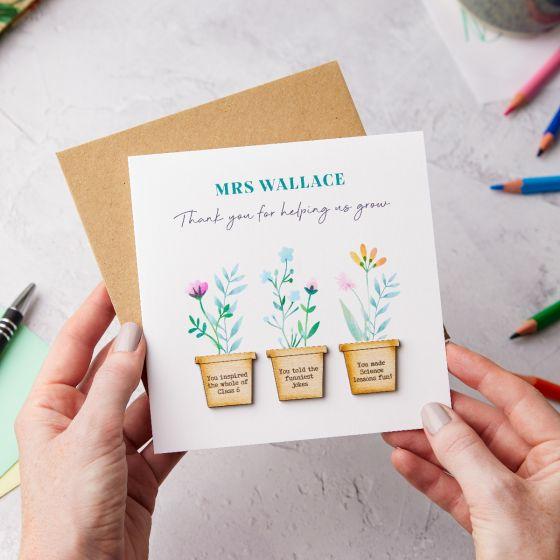 Thank You Teacher Wildflower Pots Keepsake Card
