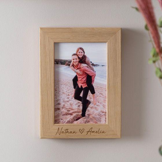 Couple's Love Heart Engraved Oak Photo Frame