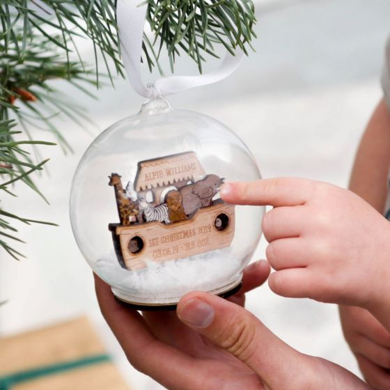 Noah's Ark Personalised First Christmas Bauble
