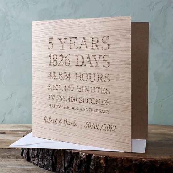Wooden Time Card- Square (5th Anniversary)