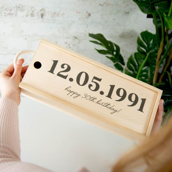 Personalised Date Birthday Celebration Bottle Box