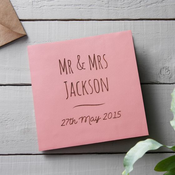 Leather (3rd) Anniversary Pink Engraved Card