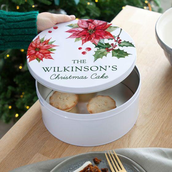 Poinsettia Design Christmas Cake Tin