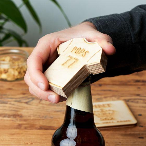 Personalised Wooden Football Shirt Bottle Opener