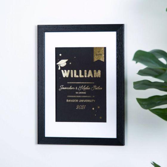 Large Name Foiled A5 Graduation Print