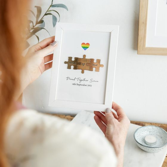 Couples Puzzle Pieces Print with Rainbow Detail