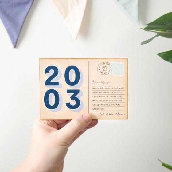 Printed Wooden Big Birthday Postcard - Drop Shadow Numbers