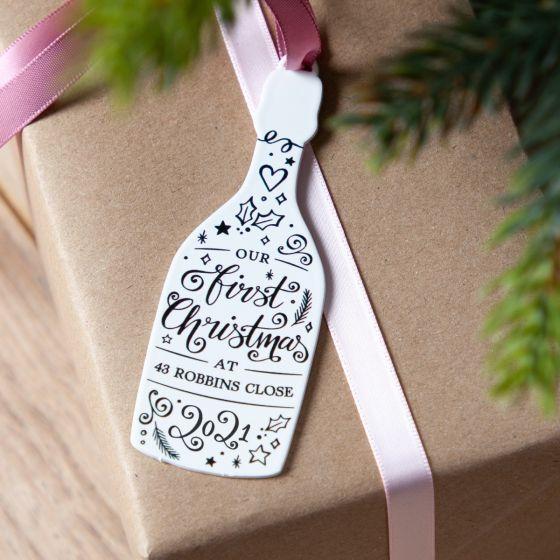 Festive Prosecco Bottle Christmas Decoration