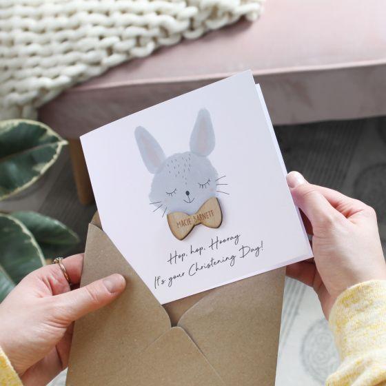 Rabbit Christening Card