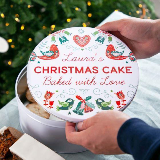 Festive Scandi Pattern Christmas Cake Tin