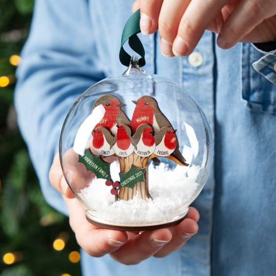 Personalised 3D Wooden Robin Family Bauble