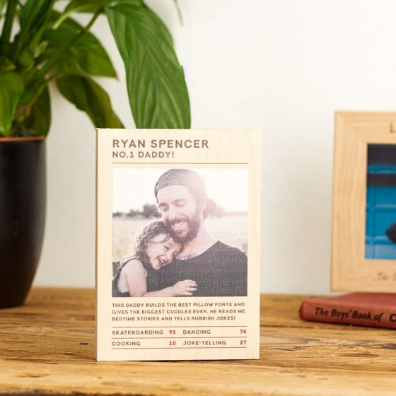 Personalised Photo 'Trading Card' Wooden Block