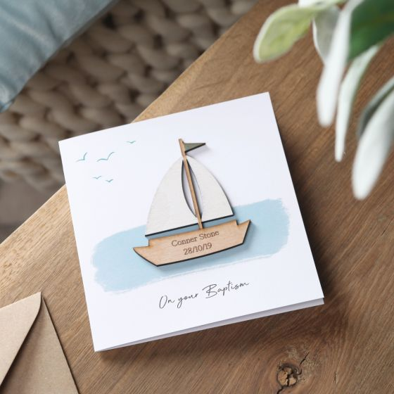 Sailboat Christening Card