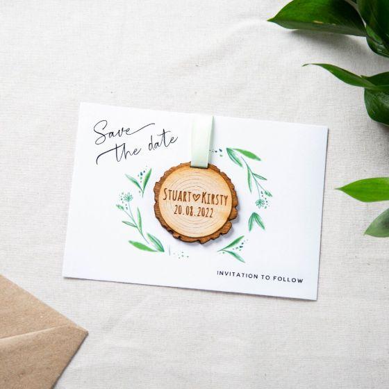 Hanging Tree Slice Save the Date Keepsake Card - White