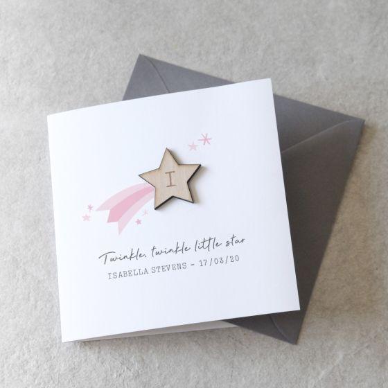 Shooting Star New Baby Keepsake Card