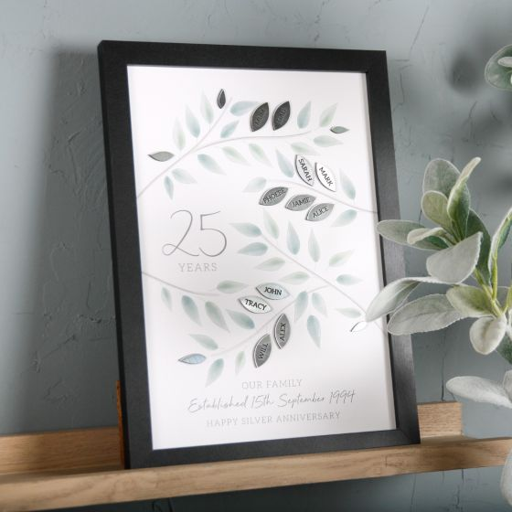 Silver Anniversary 3D Family Tree Print