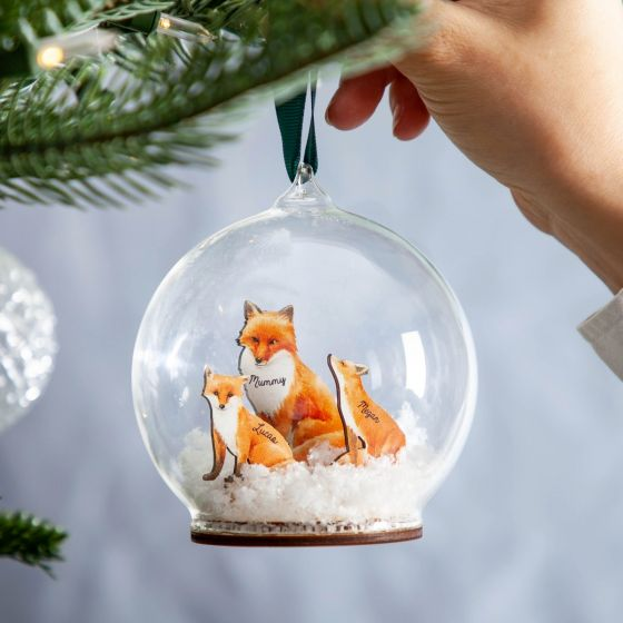 Personalised 3D Wooden Fox Family Bauble