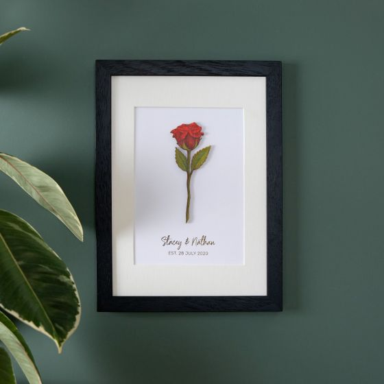 Single Wooden Red Rose A5 Framed Print
