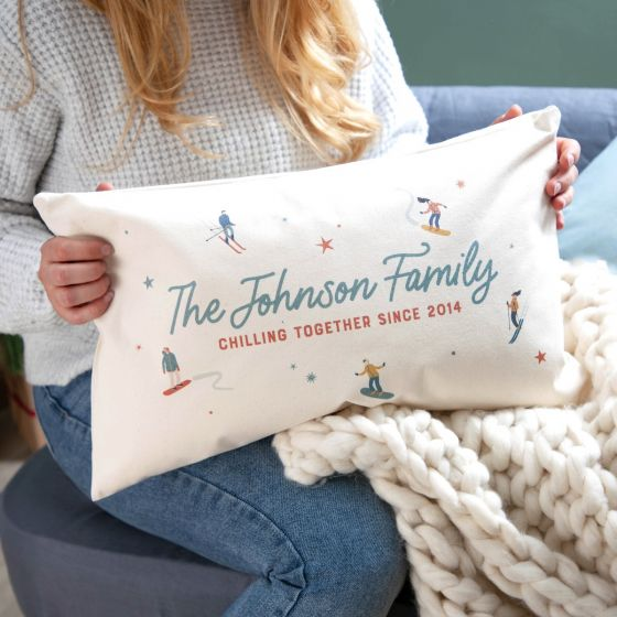 Family Ski Theme Cushion