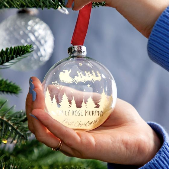 Sleigh Silhouette First Christmas Foiled Bauble