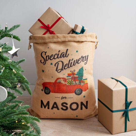Santa's Special Delivery Truck Christmas Sack