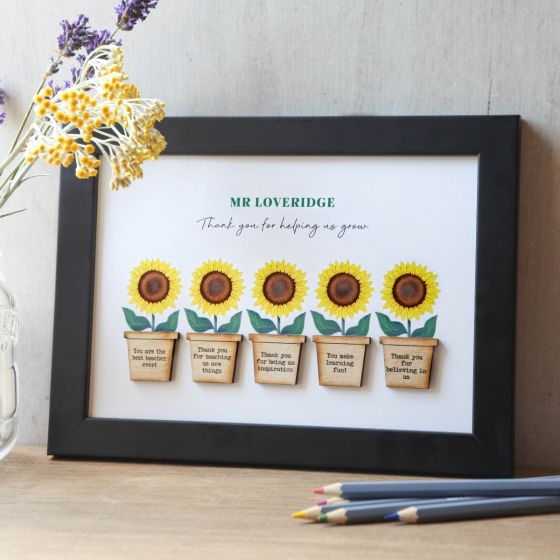 Sunflower Flower Pots Framed Thank you Print