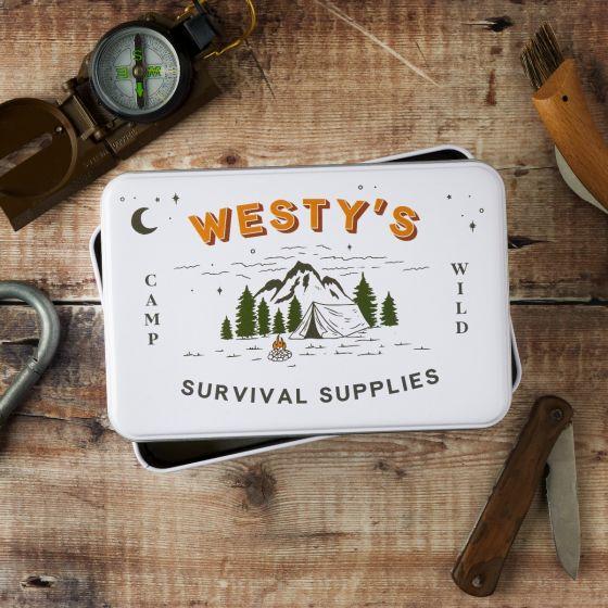 Personalised Survival Supplies Storage Tin
