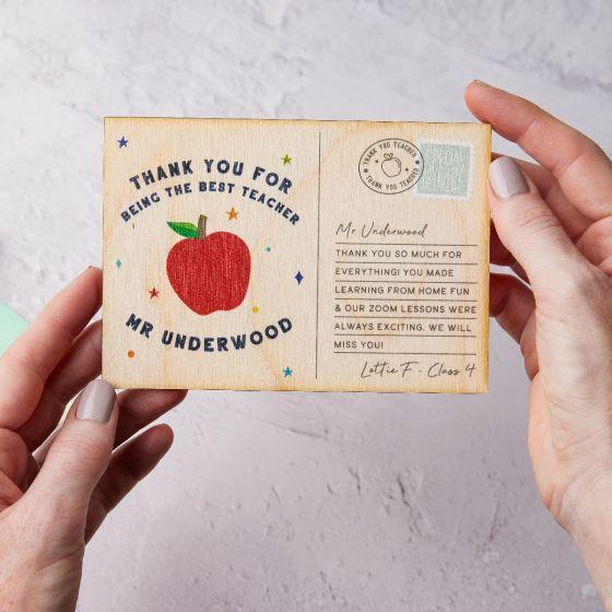 Thank You Teacher Apple Printed Wooden Postcard