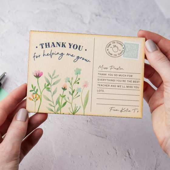 Thank You Teacher Wildflowers Printed Wooden Postcard