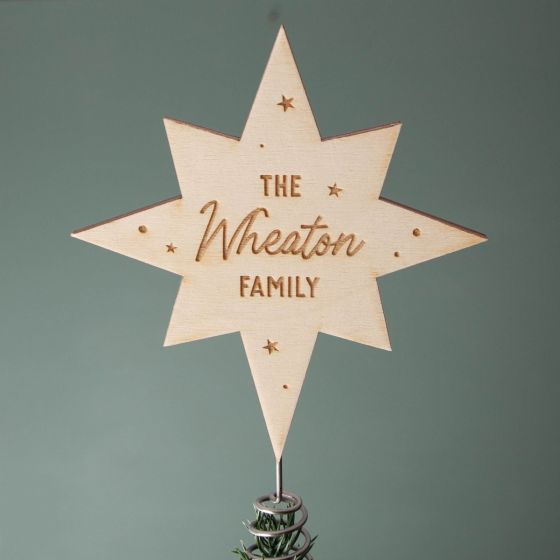 Personalised Family Star Christmas Tree Topper