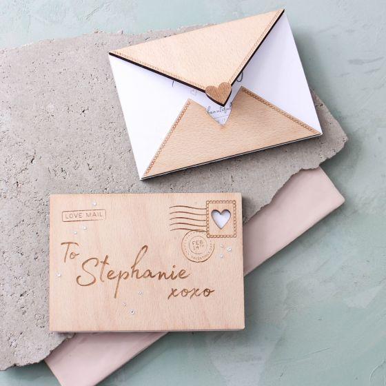 Engraved Wooden Love Letter
