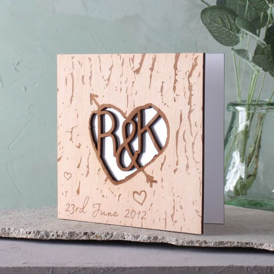 Wooden (5th) Anniversary Tree Carved Heart And Arrow Card