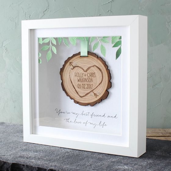 Personalised 3D Wooden 'Tree Slice' Keepsake Frame