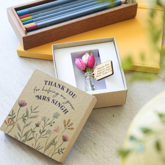 Thank You Teacher Flower Box - Wild Flowers Lid Design