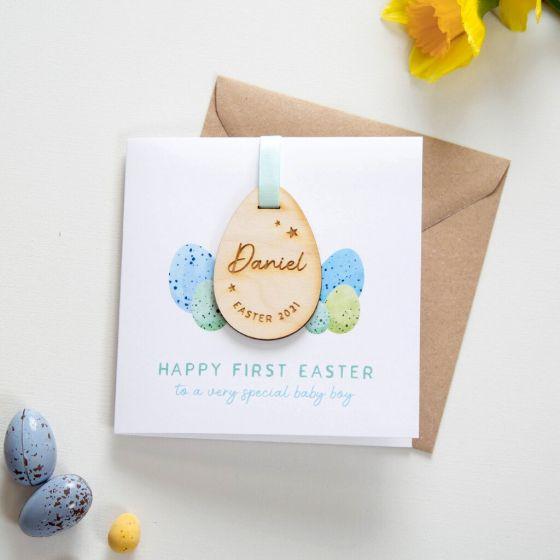 Wooden Easter Egg Keepsake Card